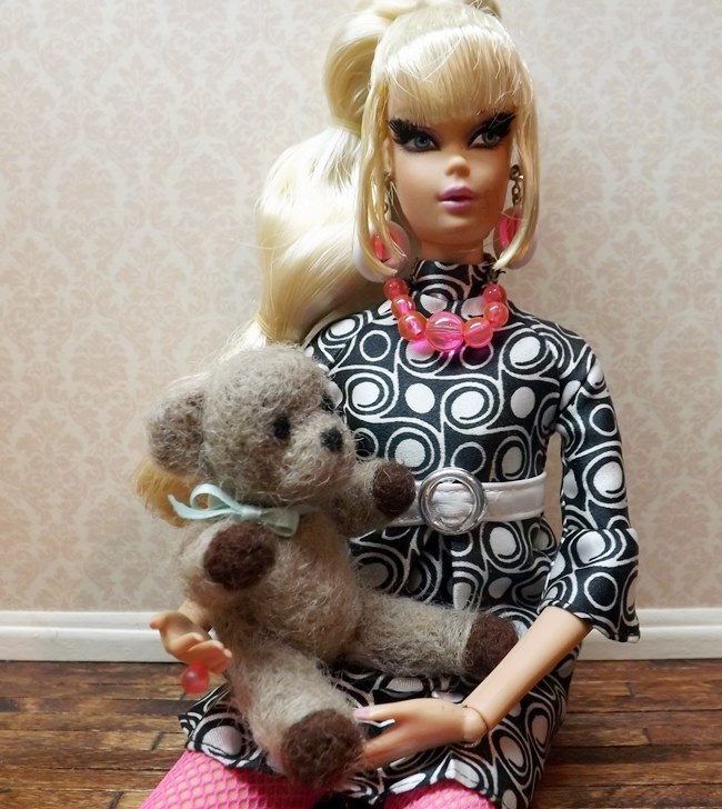 needle felted teddy with Barbie