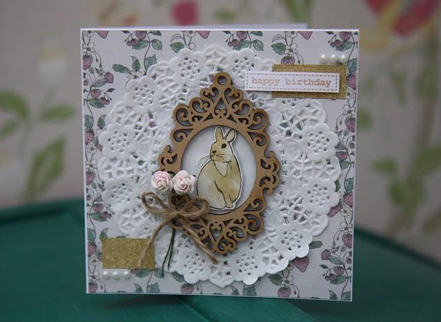 Bunny birthday card by StickerKitten – Craft Consortium English Garden papers