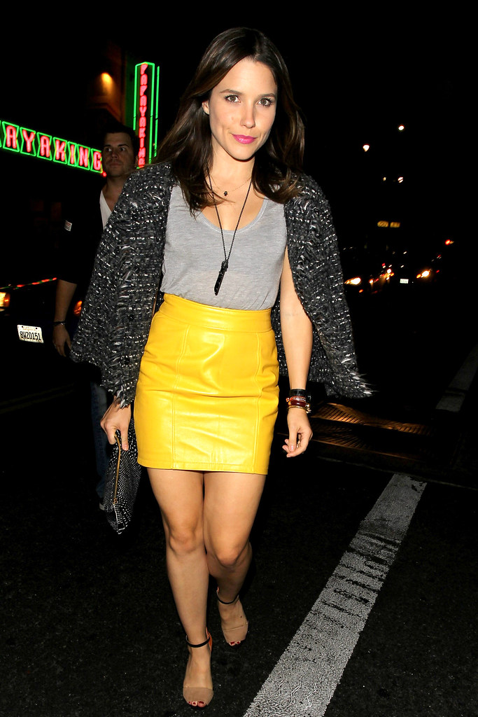 sophia bush grey tank amp high waisted yellow leather skirt
