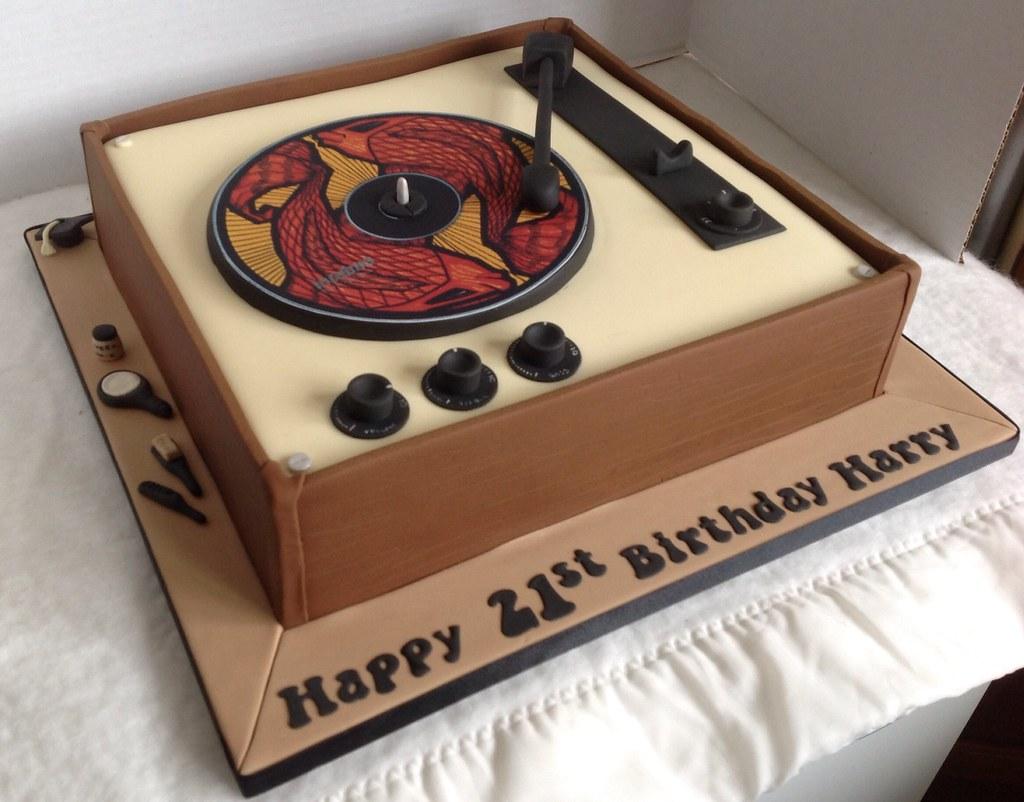 21st Record Player Birthday Cake Liz Flickr