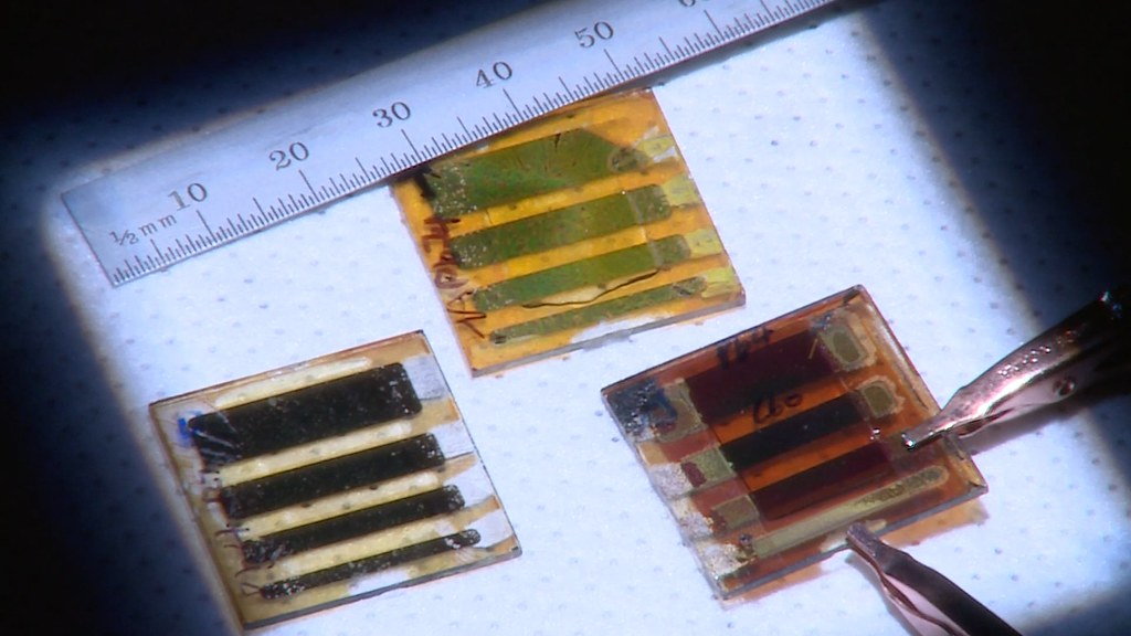 Hot-cast perovskite solar cells show promise for creating more efficient and affordable solar panels, LEDs, and lasers. Image courtesy Los Alamos National Laboratory.