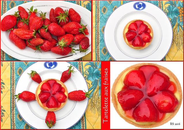 Bretagne-Urlaub 2016: Erdbeerzeit - Erdbeeren - Erdbeertörtchen - Tartelette aux fraises. Foto: Brigitte Stolle 2016