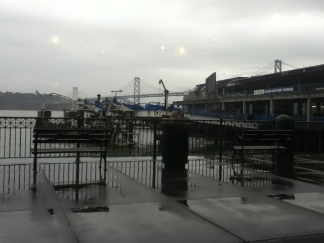 San Francisco Bay, view from the Ferry Building, rainy day