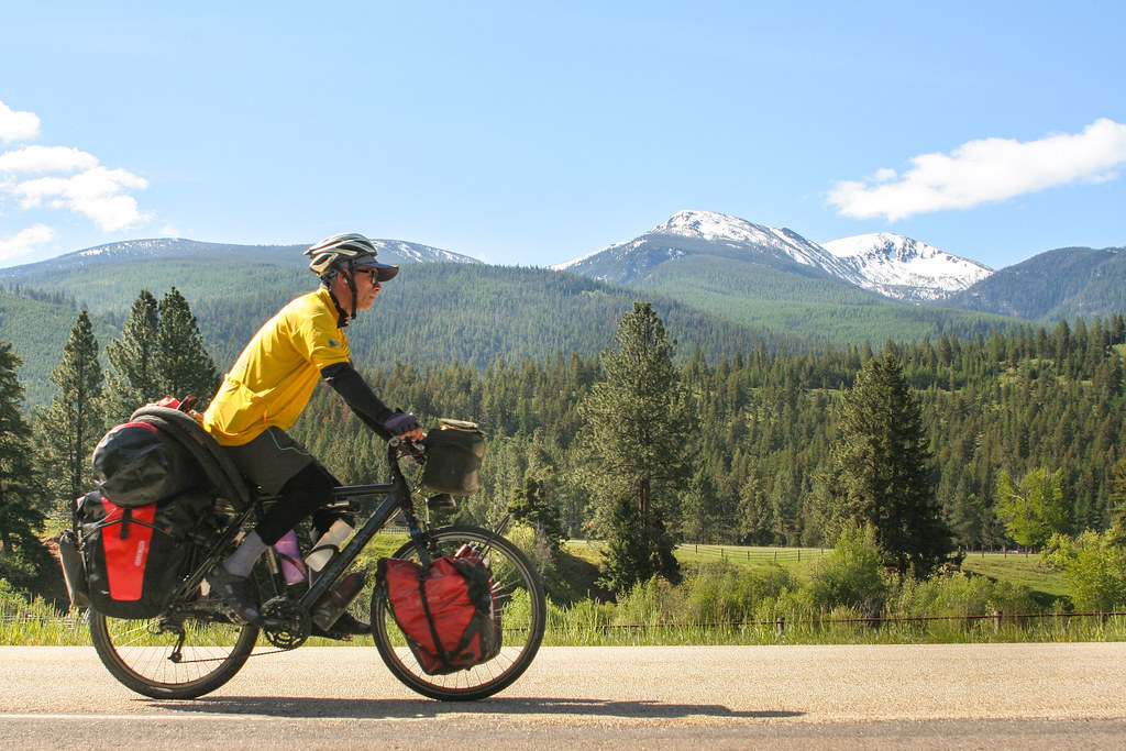 bicycle touring towards Lolo Pass, Idaho Montana Border