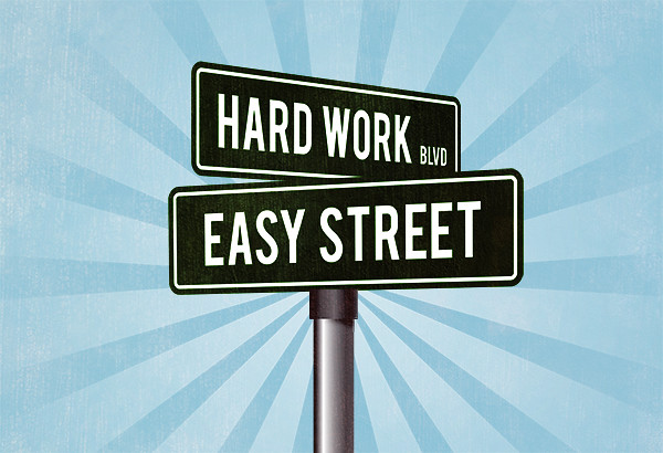 Financial Signs Hard Work Leads To Easy Street Financial