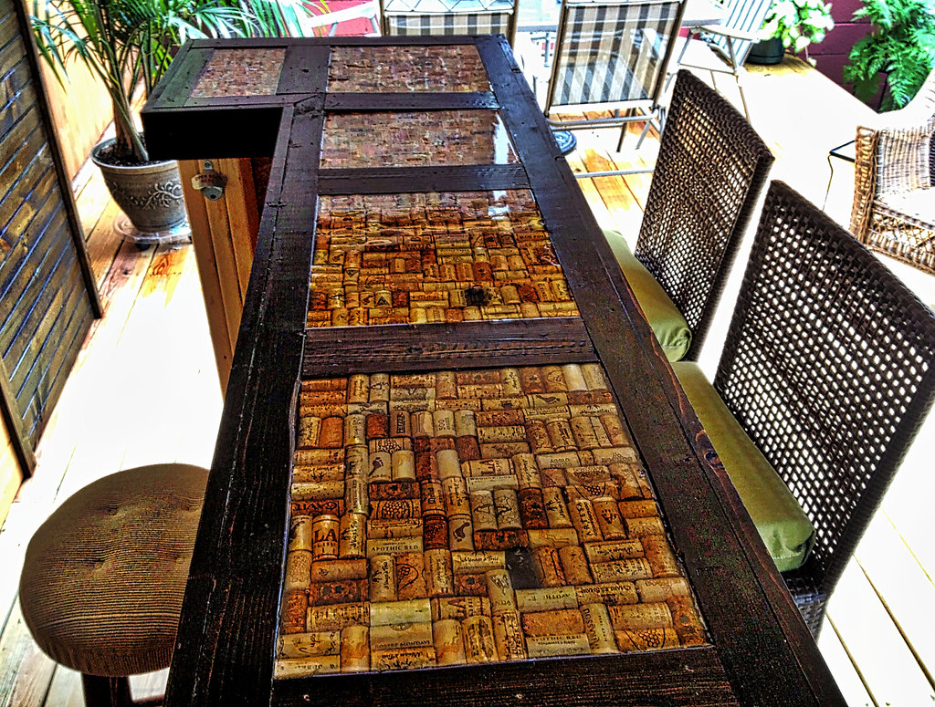 Inlaid cork bartop corks inlaid in an epoxy and wood for Wine cork bar top