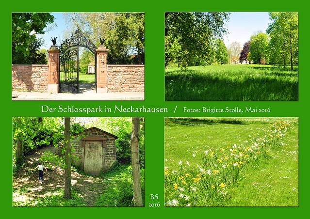 Der Schlosspark in Neckarhausen ist klein, aber eine kleine Runde im den Park ist trotzdem immer wieder schön. So sieht es im Garten des Graf von Oberndorff'schen Schloss jetzt im Mai 2016 aus: Orangerie, Eiskeller, Brunnen und viel Grün. Foto: Brigitte Stolle Mai 2016