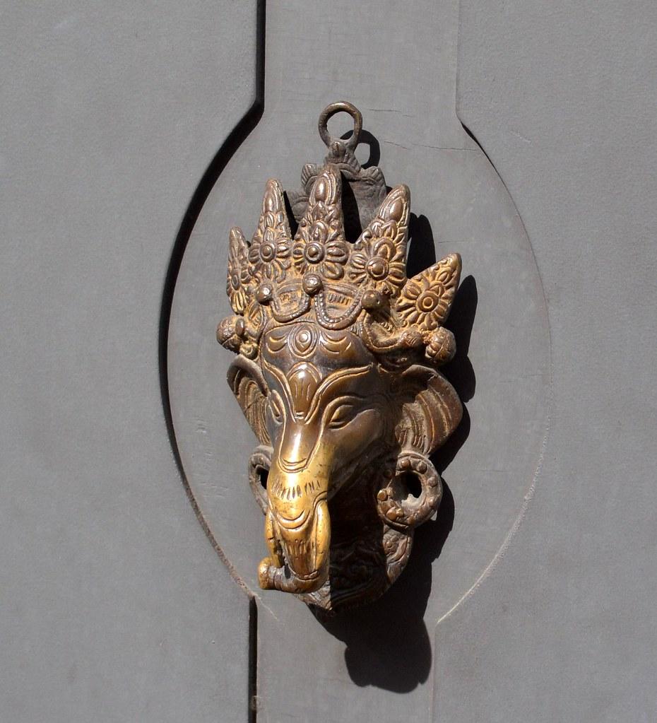 Ganesha elephant head door knocker carpe feline flickr - Elephant door knocker ...