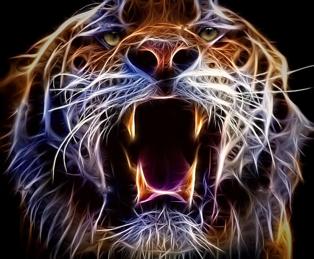tiger fractal cats e - photo #19
