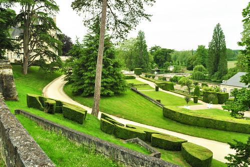 Château d'Ussé: Ein Märchen- und Lustschloss mit Ausblick auf das Tal der Loire und den Fluss Indre. Der Entwurf für die Park- und Gartenanlage stammt von dem berühmten Gartenarchitekten von Versailles: von André le Nôtre. Foto: Brigitte Stolle 2016