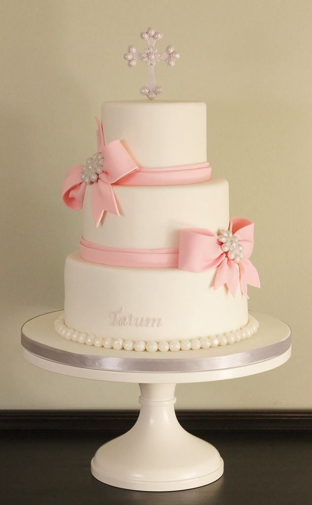 Fondant Bows Baptism Cake Three tier baptism cake with ...