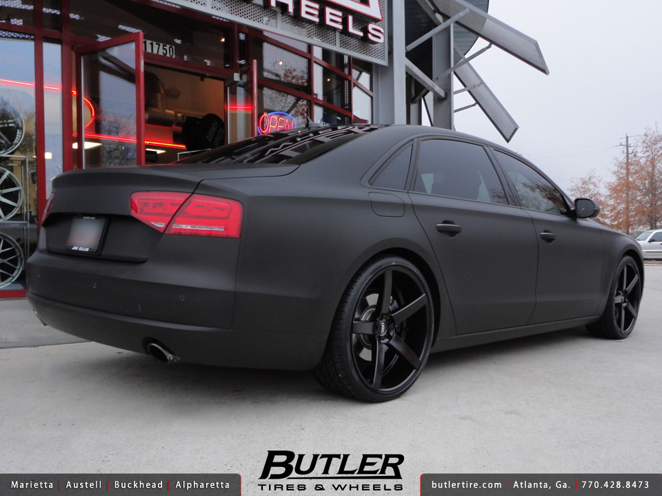 Matte Black Audi A8 with 22in XO Miami Wheels | Additional ...