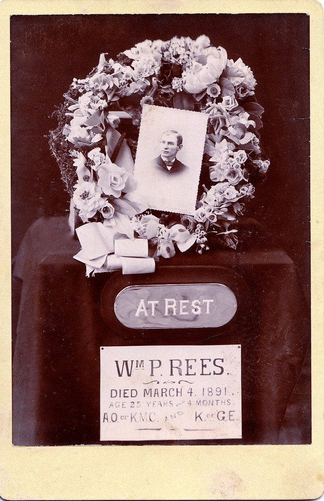 Funeral Flowers For William P Rees Albumen Cabinet Card