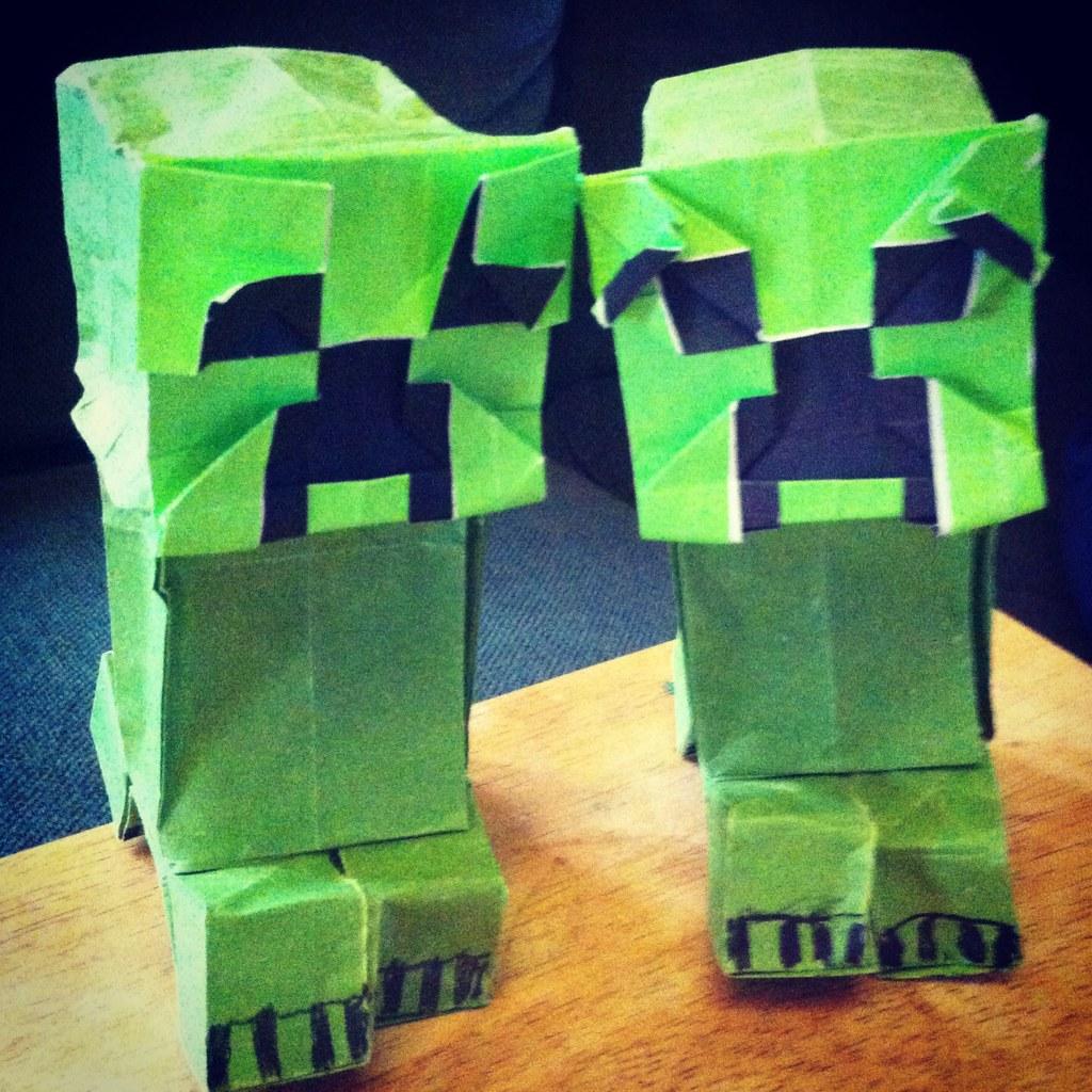 minecraft origami origami creeper head and body evil