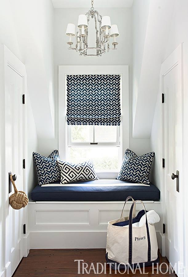 Cozy Hallway Nook | Window Seat | Navy Patterned Decor