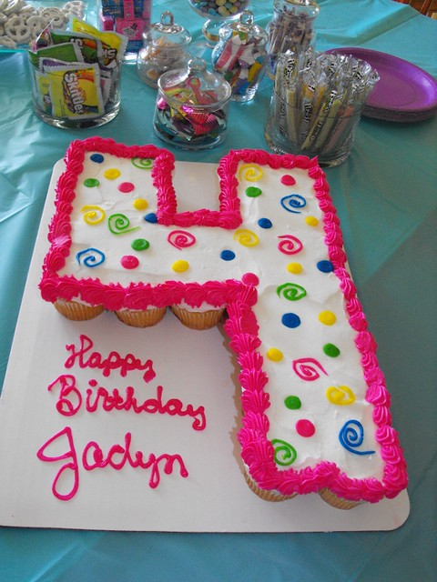 Birthday Cake Ideas Made Out Of Cupcakes : Number 4 cupcake cake Flickr - Photo Sharing!