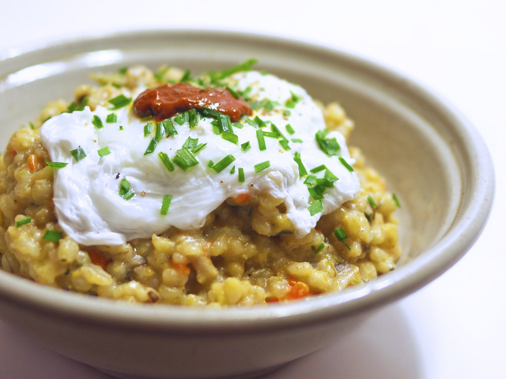 Asparagus Risotto With A Poached Egg Recipe — Dishmaps