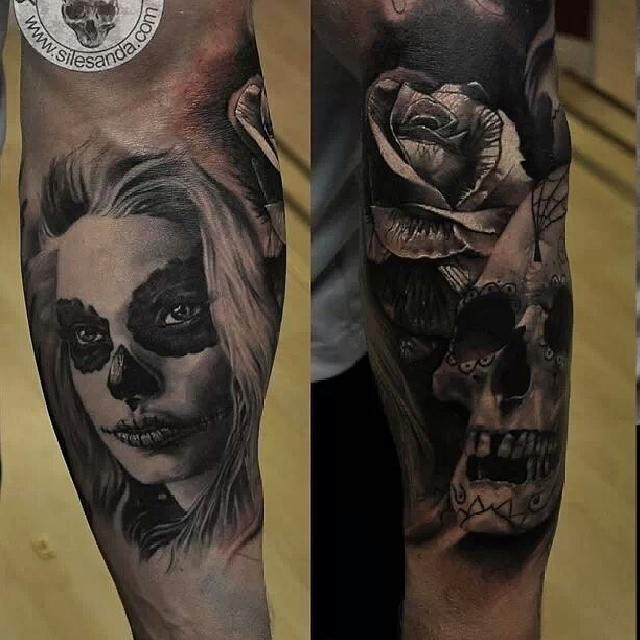 sleeve in progress tattoo skull glasgow scotland rea flickr. Black Bedroom Furniture Sets. Home Design Ideas
