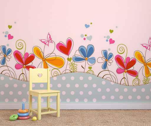 Flores decoraci n de paredes decoraci n de habitaciones - Paredes pintadas infantiles ...