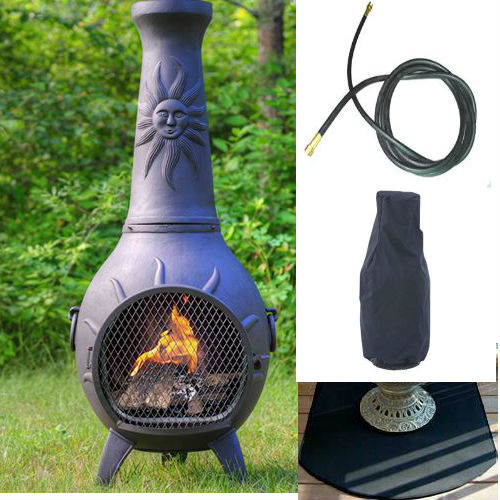 QBC Bundled Blue Rooster Sun Stack Chiminea with Propane Gas Kit, Half Round Flexbile Fire Resistent Chiminea Pads, 20 ft Gas line, and Free Cov Charcoal Color - Plus Free QBC Metal Chiminea Guide
