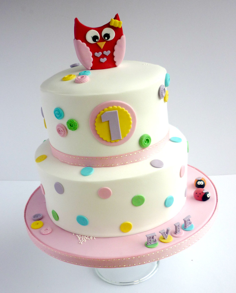 Owl Themed Spotty Birthday Cake Liana Stevens Flickr