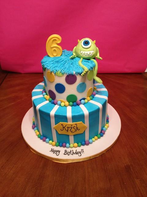 Monster s University Mike Wazowski 6th Birthday CakeMonster University Mike Wazowski Cake