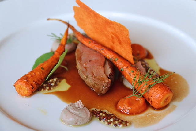 Duck breast with parfait, semi-dried carrot, mustard seeds