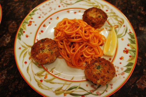 At Home:  Tuna Croquettes and Fried Spaghetti