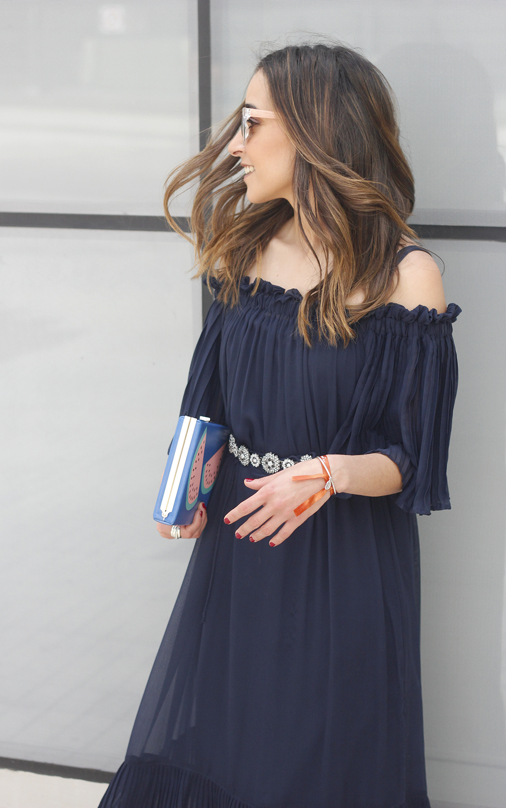 A Midi Dress With Pleated Ruffles heels clutch accessories sunnies fashion outfit summer21