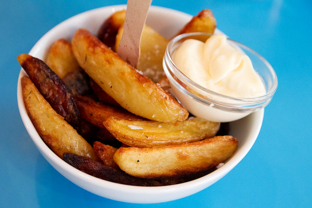 Grilled potato wedges with aioli
