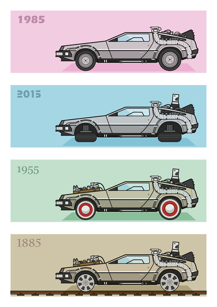 Back To The Future X4 Delorean Four Versions Of The
