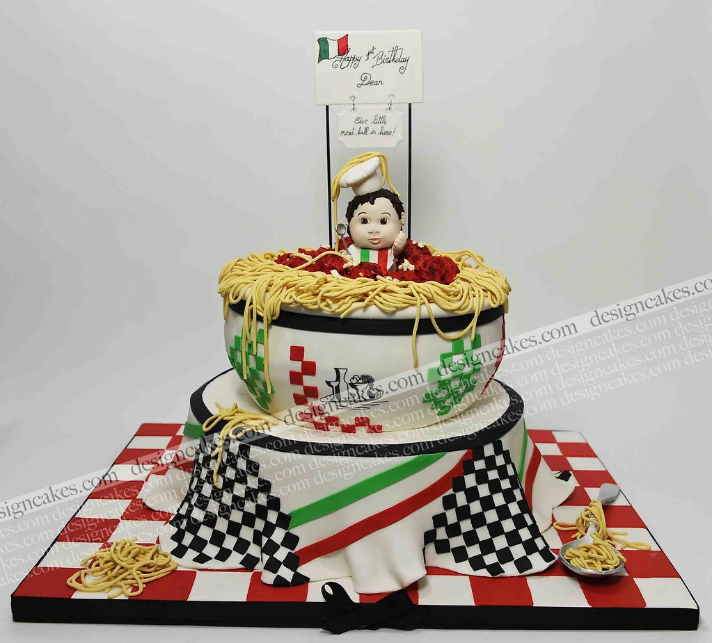 spaghetti and meatball cake/ Italian theme cake ...