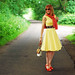 Summer style: Yellow sun dress with orange and coral   Not Dressed As Lamb