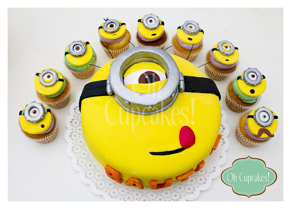 Torta y cupcakes tem tica minions decoraci n en fondant for Decoracion en cupcakes