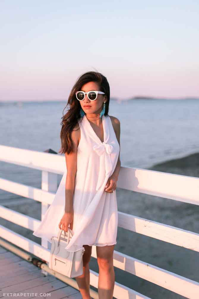 summer date night little white dress outfit celine nano