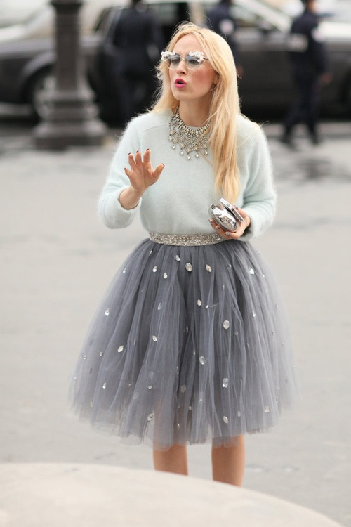 falda tul con piedrecitas