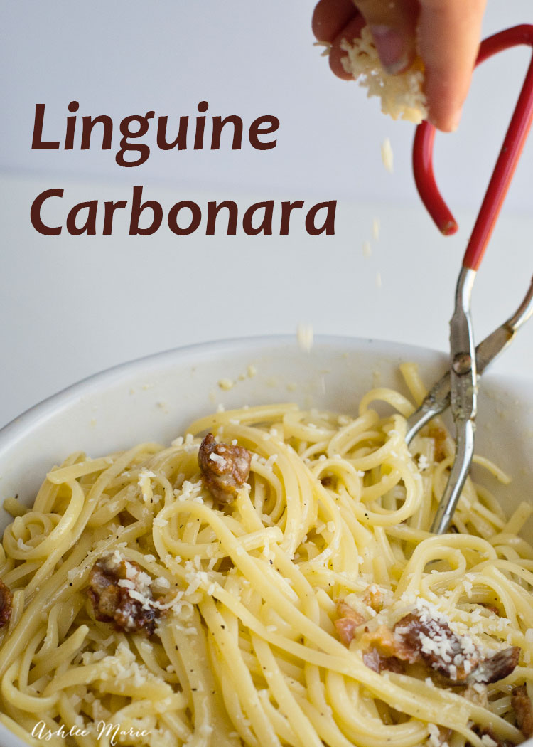 linguine carbonara is one of my favorite quick dinners, five ingredients and 10 mins for an creamy, delicious dinner