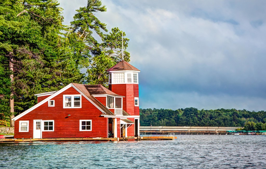 Red Boat House Lake Minocqua Wisconsin Ted Engler
