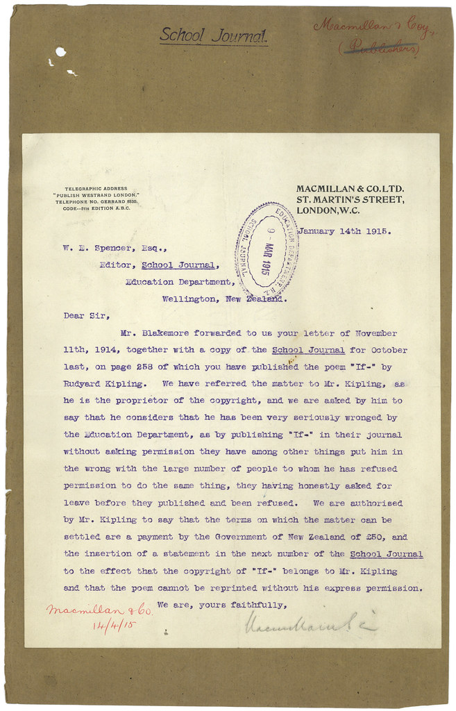 Letter Regarding The Publication Of Rudyard Kipling S If