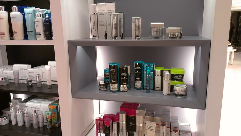 Cosmetics shelves