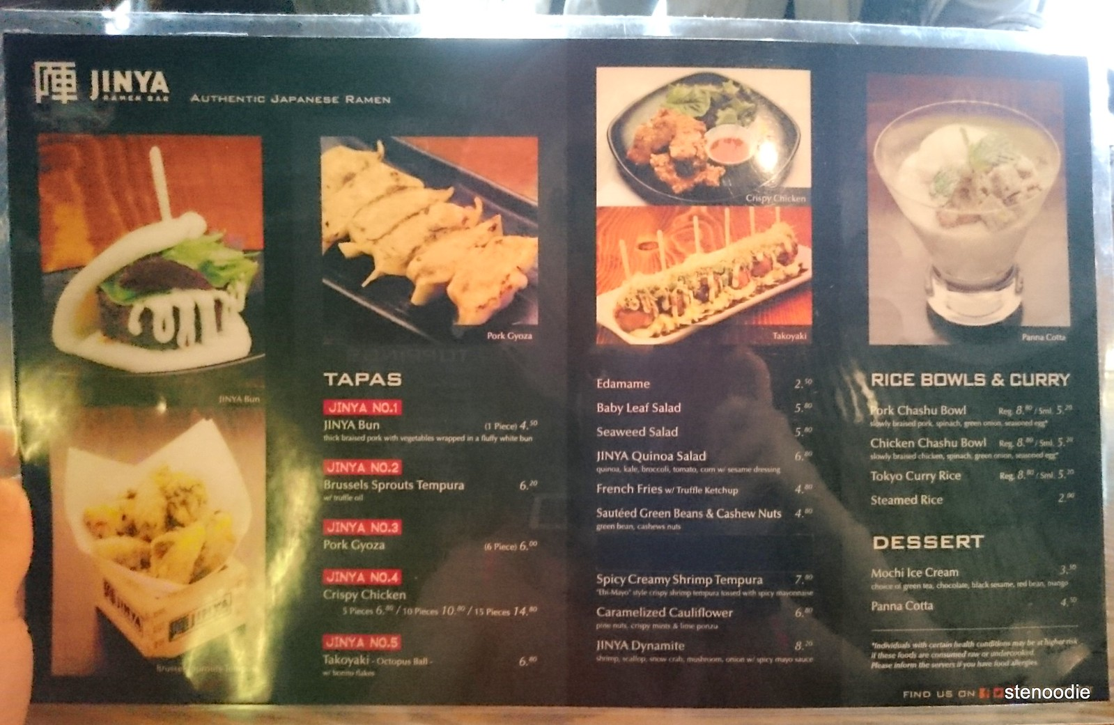 Jinya Ramen Bar Menu