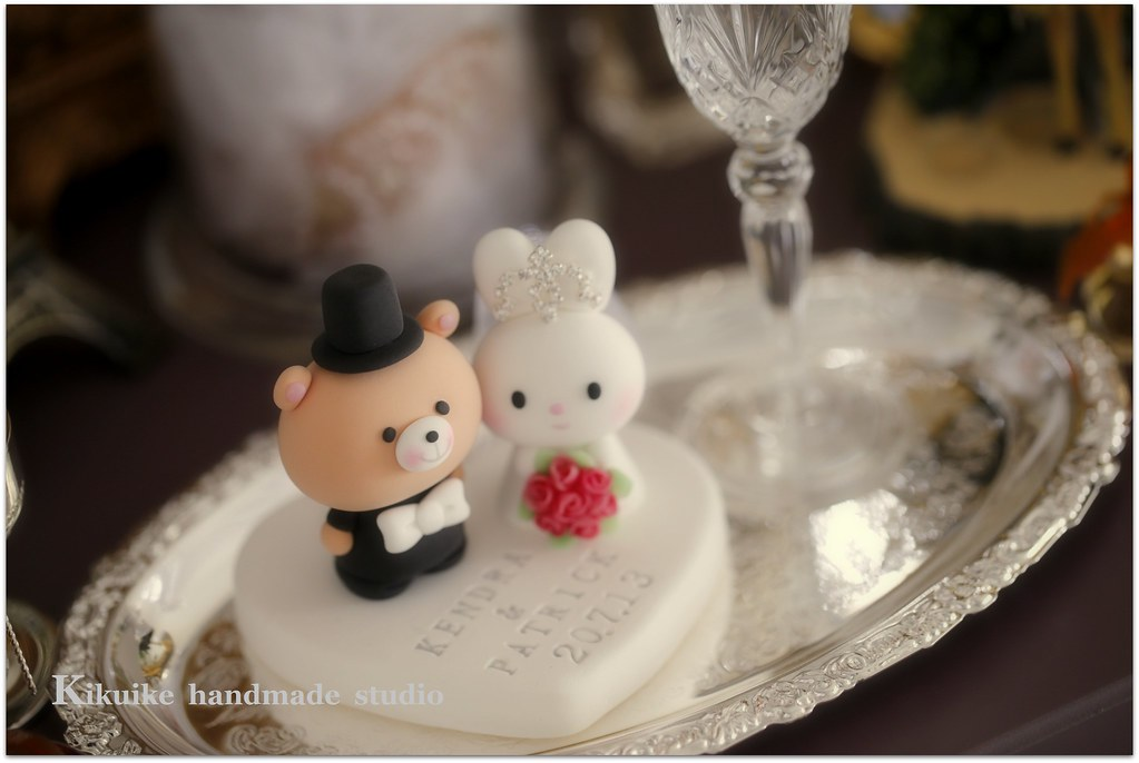 Lovely Rabbit And Bear Wedding Cake Topper
