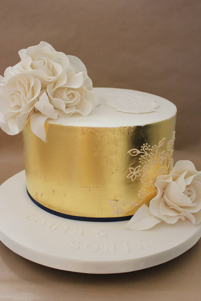 Gold Leaf Wedding Anniversary Cake This Week I Was