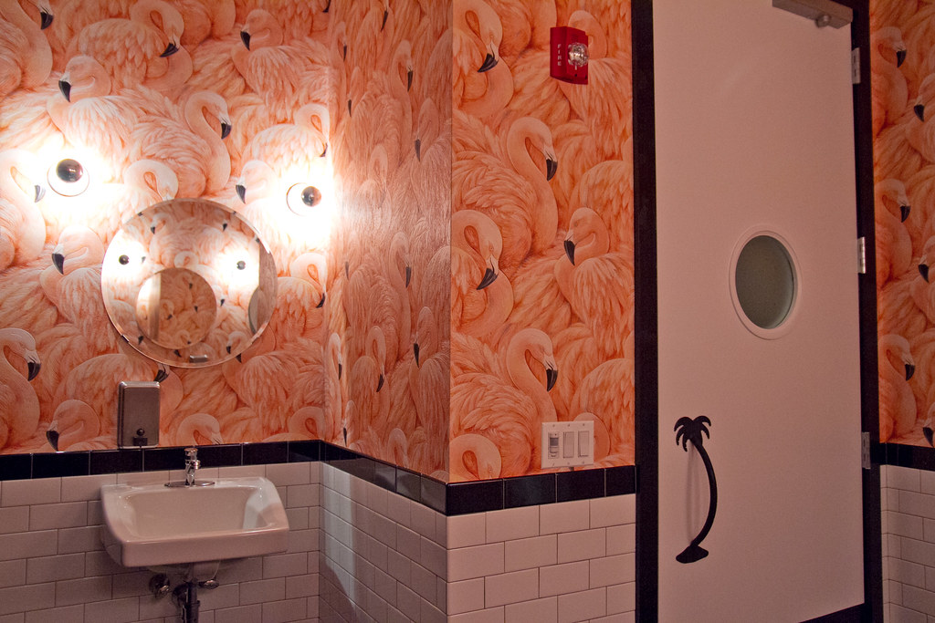 FLAMINGO BATHROOM!!! | Serious Eats holiday party at The Roy… | Flickr