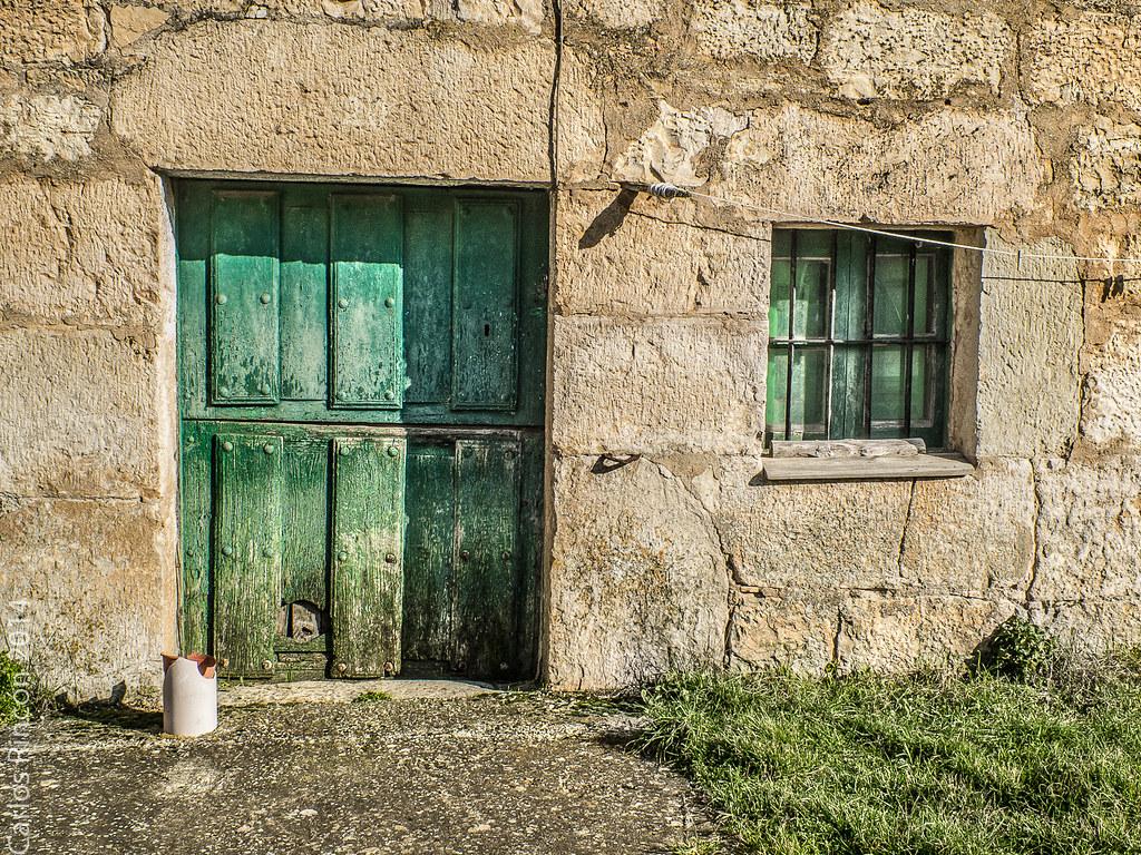 Green Door And Window Old Green Door In A Country House