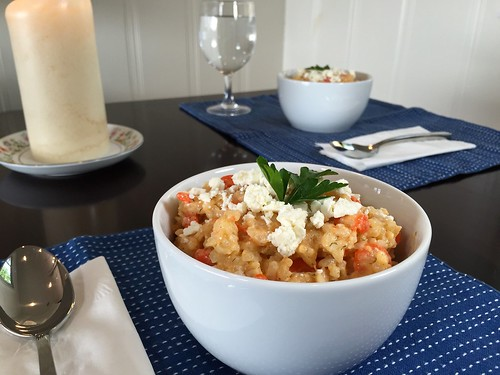 delicious risotto with carrots and feta