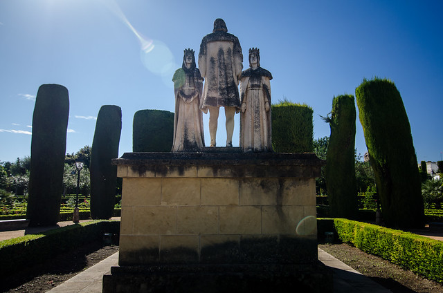A monument in the gardens of Alcázar de los Reyes Cristianos, or, the Castle of the Christian Monarchs, in Córdoba, Spain