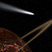 Comet passing a Ringed Planet