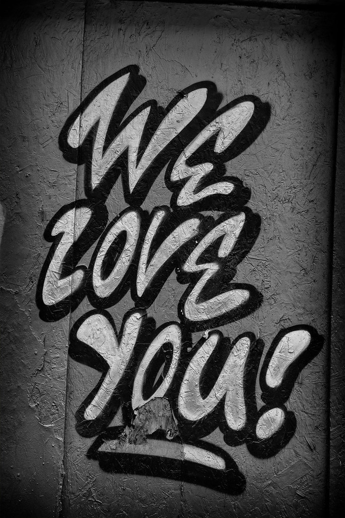 we love you graffiti graffiti 39 we love you 39 from a wall in flickr. Black Bedroom Furniture Sets. Home Design Ideas