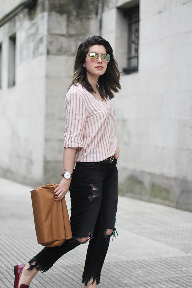 Gucci loafers with frayed jeans zara striped shirt red spring lunch bag myblueberrynightsblog